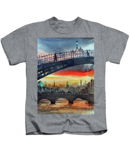Hapenny Bridge Sunset, Dublin...27apr18 Kids T-Shirt