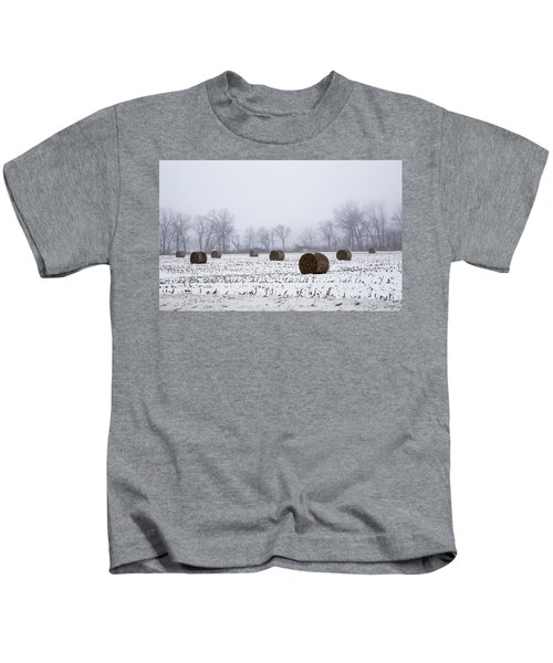 Hay Bales In The Snow Kids T-Shirt