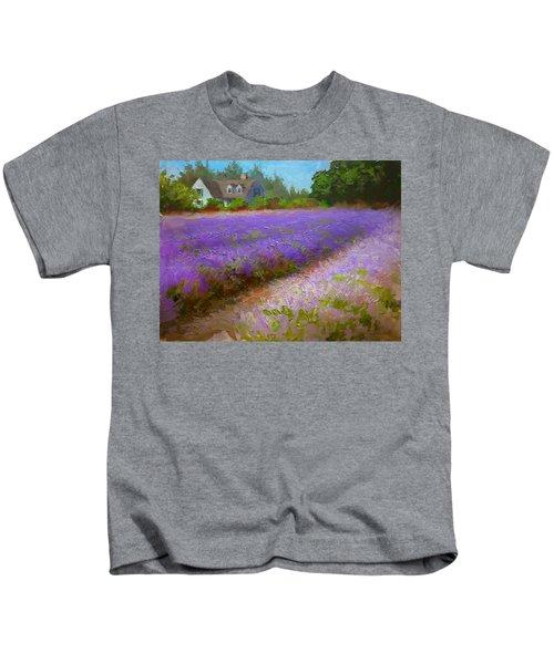 Impressionistic Lavender Field Landscape Plein Air Painting Kids T-Shirt