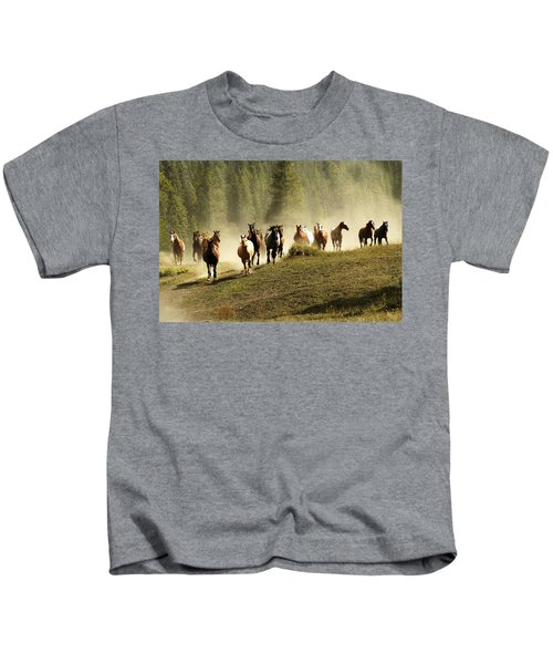 Herd Of Wild Horses Kids T-Shirt