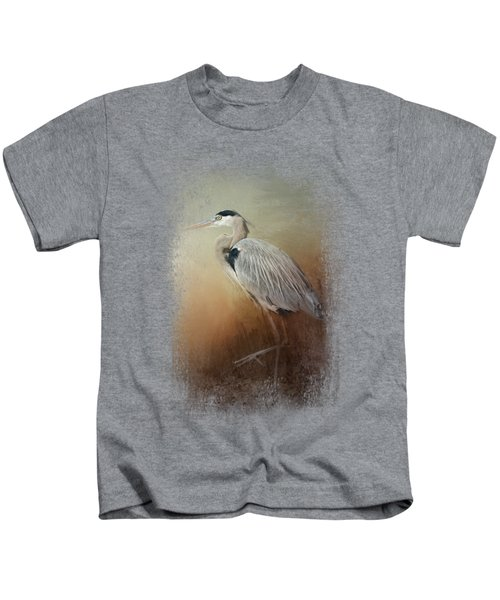 Heron At The Inlet Kids T-Shirt by Jai Johnson