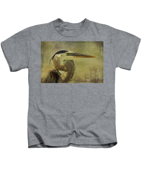 Heron On Texture Kids T-Shirt