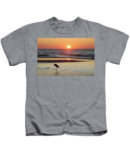 Heron Watching Sunrise Kids T-Shirt