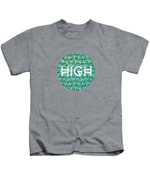 High Typo  Cannabis   Hemp  420  Marijuana   Pattern Kids T-Shirt