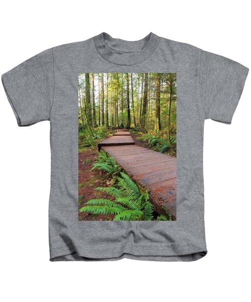 Hiking Trail Wood Walkway In Lynn Canyon Park Kids T-Shirt