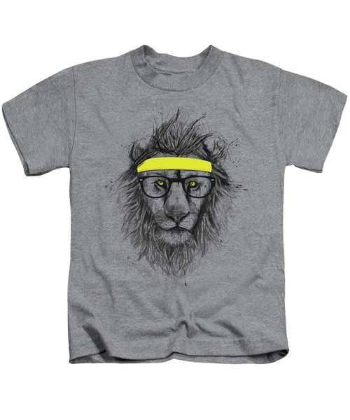 Hipster Lion Kids T-Shirt by Balazs Solti