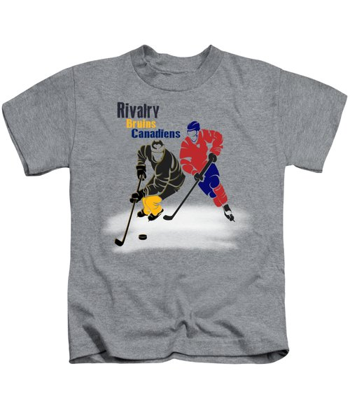 Hockey Rivalry Bruins Canadiens Shirt Kids T-Shirt by Joe Hamilton