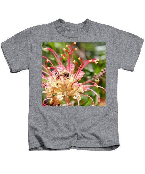 Honey Bee On Grevillea  Kids T-Shirt