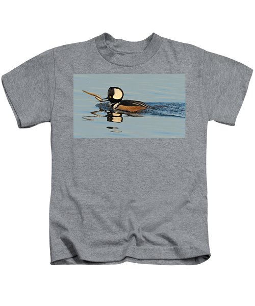 Kids T-Shirt featuring the photograph Hooded Merganser And Eel by William Jobes