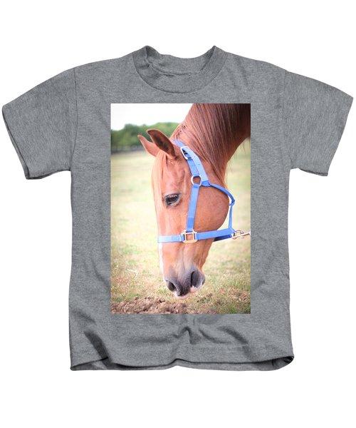 Horse Eating Grass Kids T-Shirt