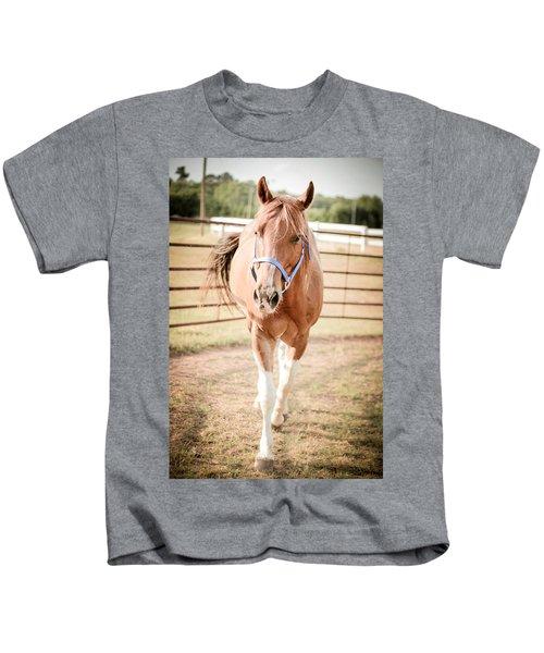 Horse Walking Toward Camera Kids T-Shirt