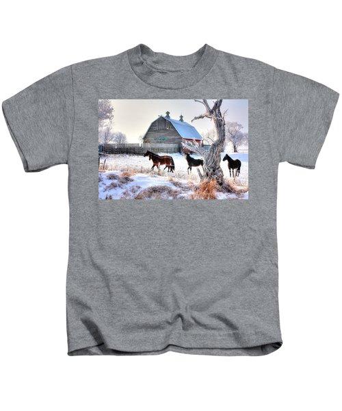 Horses And Barn Kids T-Shirt