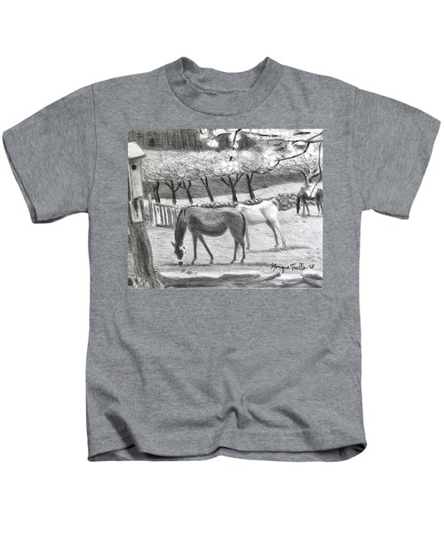 Horses And Trees In Bloom Kids T-Shirt