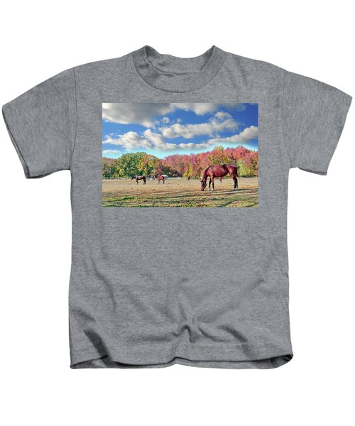 Horses Grazing At A Stable In Maryland Kids T-Shirt