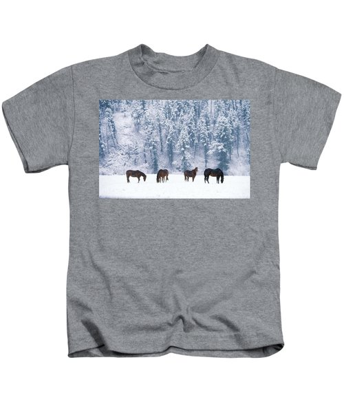 Horses In The Snow Kids T-Shirt