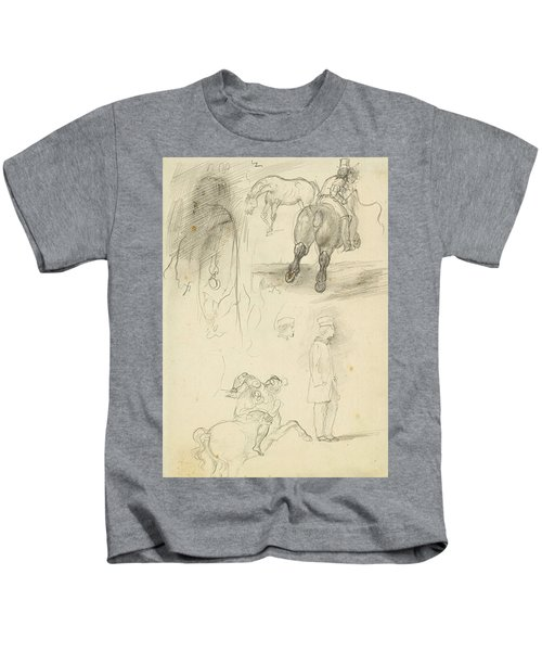 Horses Riders And A Young Man Kids T-Shirt