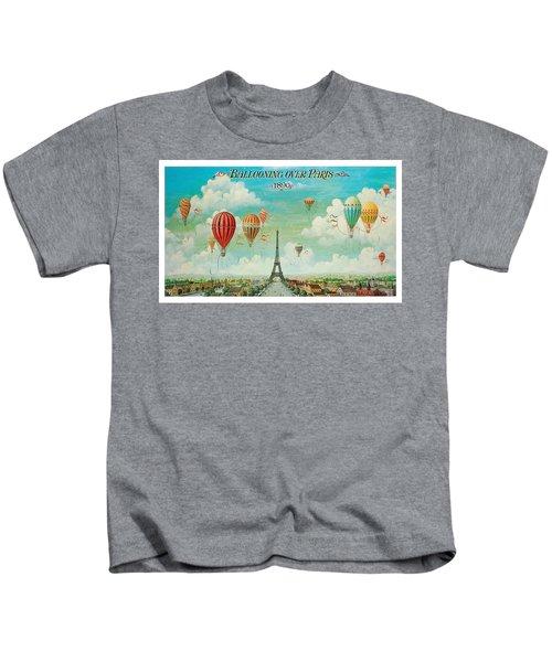 Hot Air Balloons Over Paris, Abstract Poster Kids T-Shirt