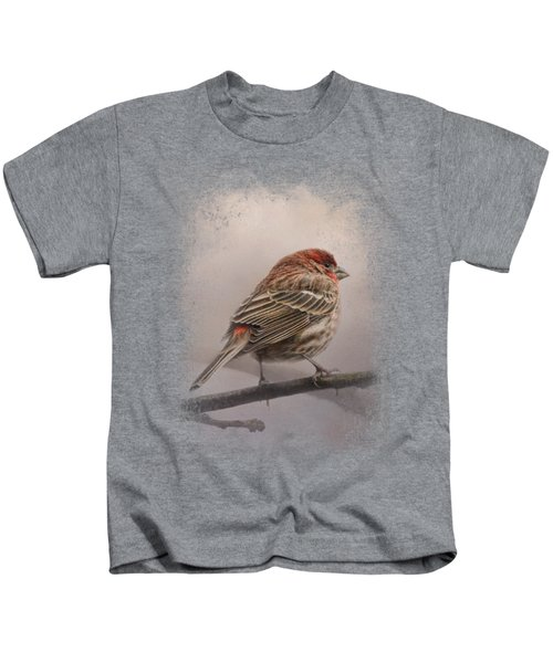 House Finch In January Kids T-Shirt by Jai Johnson