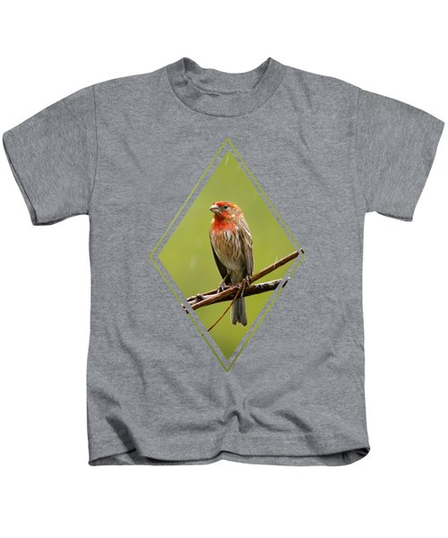 House Finch In The Rain Kids T-Shirt by Christina Rollo