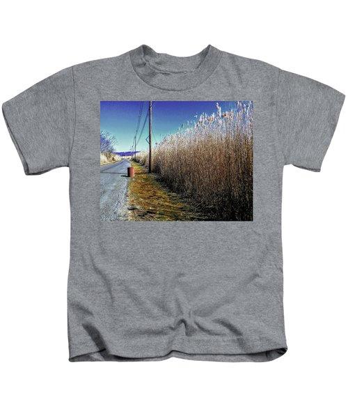 Hudson River Winter Walk Kids T-Shirt
