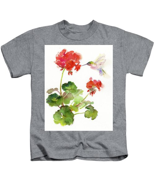 Hummingbird With Geranium Kids T-Shirt
