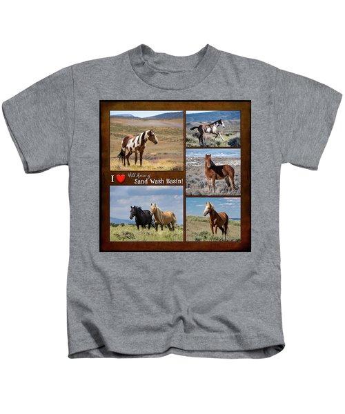 I Love Wild Horses Of Sand Wash Basin Kids T-Shirt