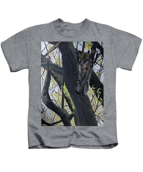 In The Shadow-ojibway Great Horn Owl Kids T-Shirt