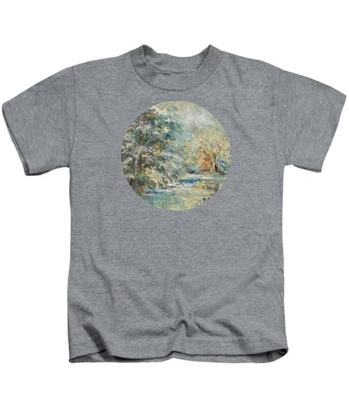 In The Snowy Silence Kids T-Shirt by Mary Wolf