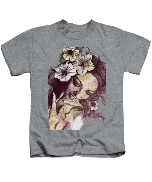 In The Year Of Our Lord - Wine - Smiling Lady With Petunias Kids T-Shirt