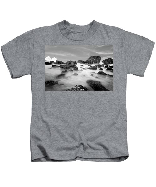 Indian Beach, Ecola State Park, Oregon, In Black And White Kids T-Shirt