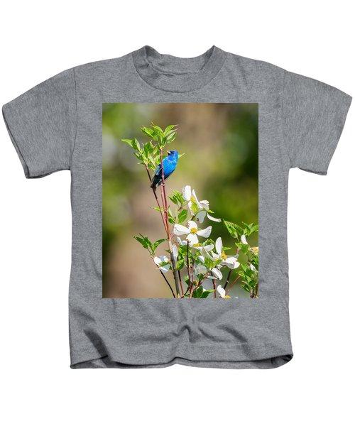 Indigo Bunting In Flowering Dogwood Kids T-Shirt by Bill Wakeley