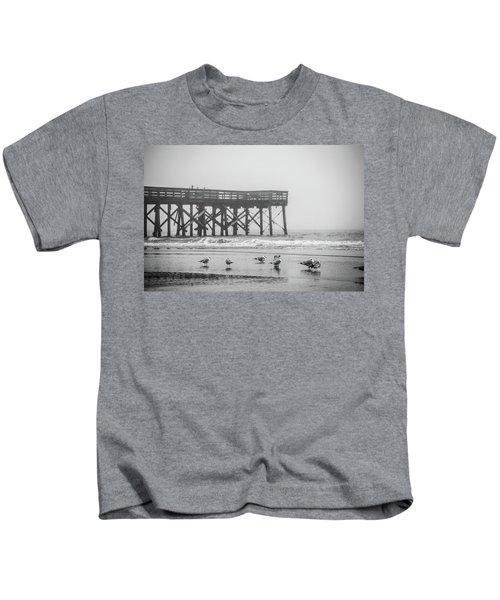Isle Of Palms Pier And Fog Kids T-Shirt