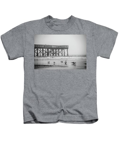 Isle Of Palms Pier And Fog Kids T-Shirt