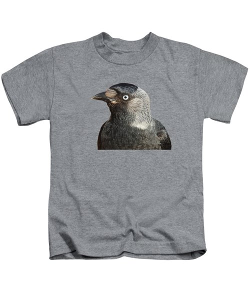 Jackdaw Corvus Monedula Bird Portrait Vector Kids T-Shirt