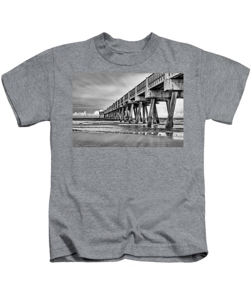 Jacksonville Beach Pier In Black And White Kids T-Shirt