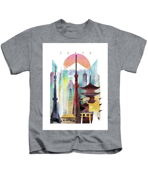 Japan Tokyo Kids T-Shirt by Unique Drawing