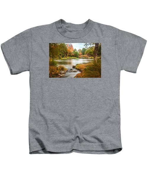 Japanese Garden Bridge Fall Kids T-Shirt