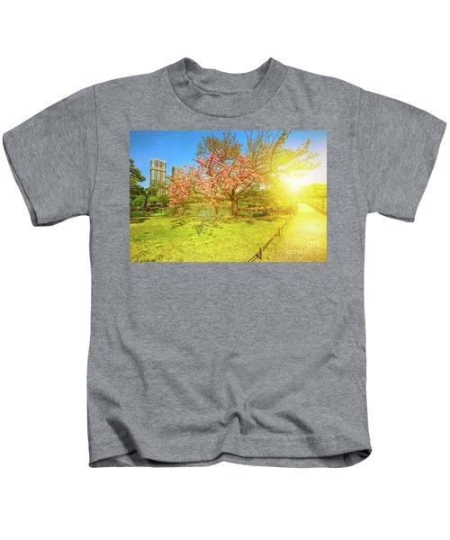 Japanese Garden Cherry Blossom Kids T-Shirt