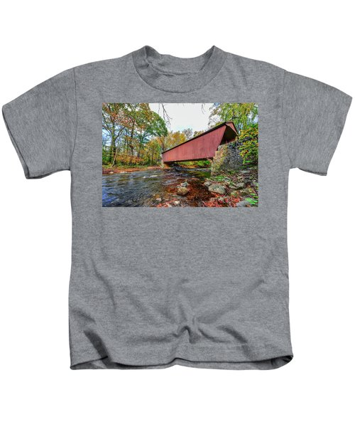 Jericho Covered Bridge In Maryland During Autumn Kids T-Shirt