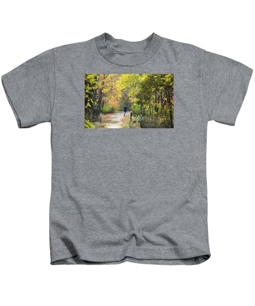 Jogger On Nature Trail In Autumn Kids T-Shirt