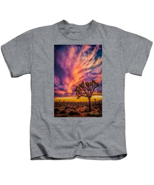 Joshua Tree In The Glowing Swirls Kids T-Shirt