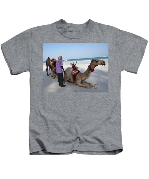 Just Married Camels Kenya Beach Kids T-Shirt