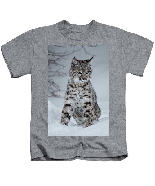 Juvenile Bobcat In The Snow Kids T-Shirt