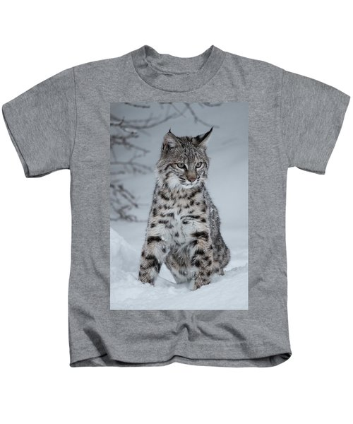 Juvenile Bobcat In The Snow Kids T-Shirt