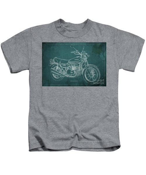 Kawasaki Motorcycle Blueprint, Mid Century Art Print Kids T-Shirt