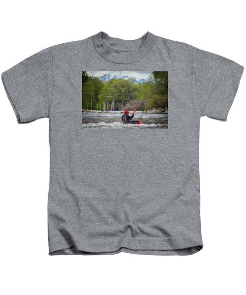 Kayaker On The Arkansas Kids T-Shirt