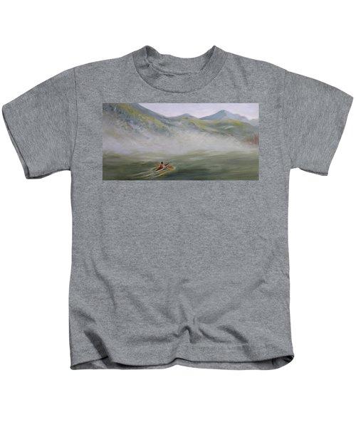 Kayaking Through The Fog Kids T-Shirt