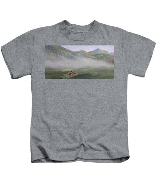 Kayaking Through The Fog Kids T-Shirt