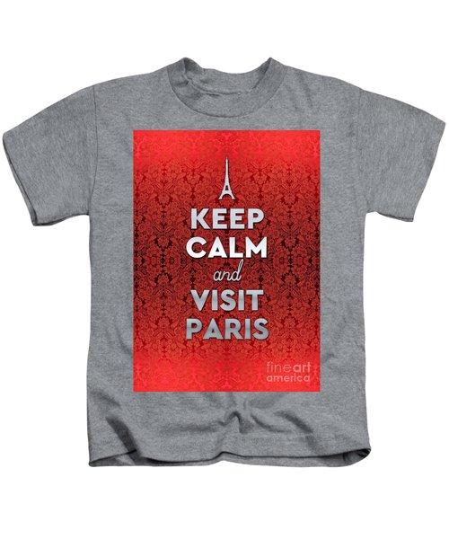 Keep Calm And Visit Paris Opera Garnier Floral Wallpaper Kids T-Shirt