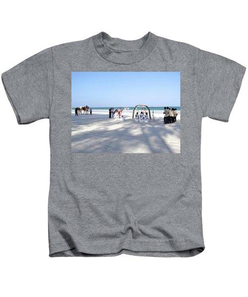 Kenya Wedding On Beach Wide Scene Kids T-Shirt by Exploramum Exploramum